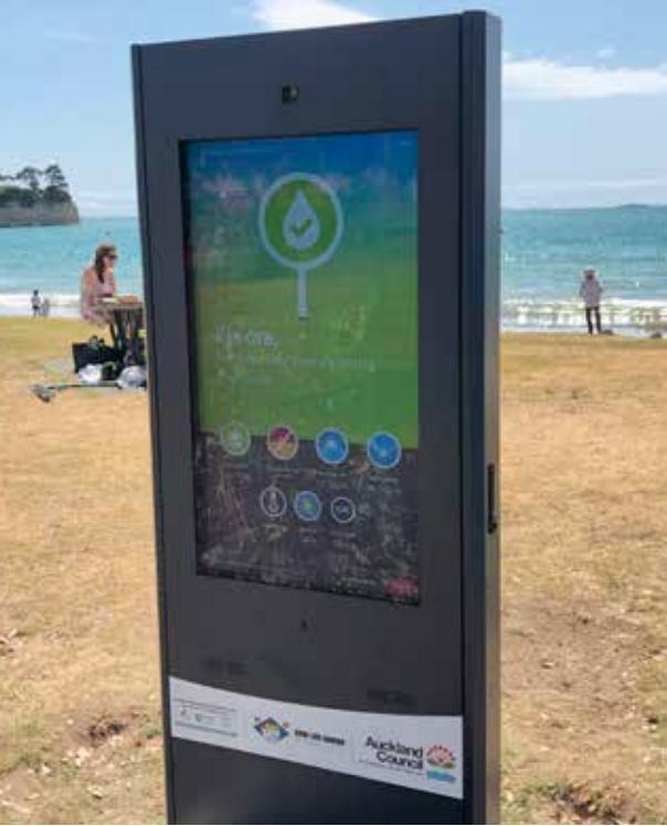 Safeswim's digital display board at Browns Bay beach