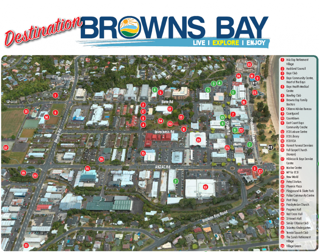 Browns Bay map of shops